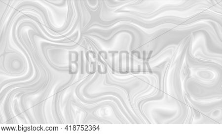 Pearly grey abstract liquid glossy waves motion pattern background. Seamless loop.