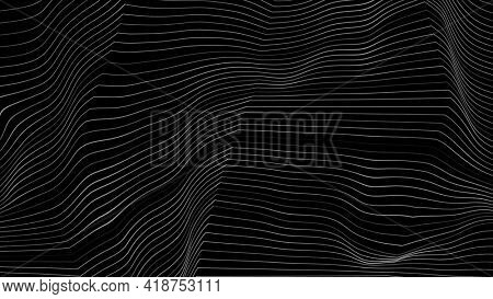 Black and white curved refracted 3d geometric lines tech motion background. Video animation Ultra HD 4K 3840x2160