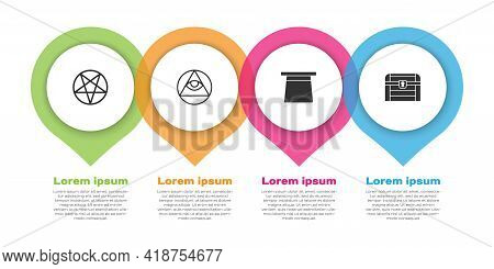 Set Pentagram In A Circle, Masons, Magic Hat And Antique Treasure Chest. Business Infographic Templa