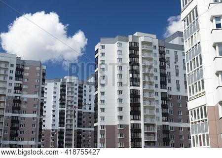 Modern Residential Area, Houses On A Sunny Day. Exterior, Facade Of A Residential Building.
