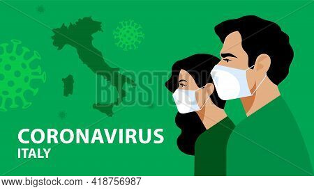 Italian People In Respiratory Mask. Coronavirus Alarm, Protection And Prevention In Italy, Europe. I