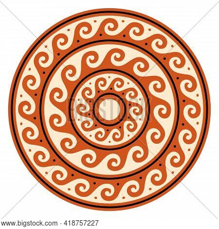 Greek Wave Vector Mandala, Ancient Round Meander Art In Circle, Orange Design Isolated On White