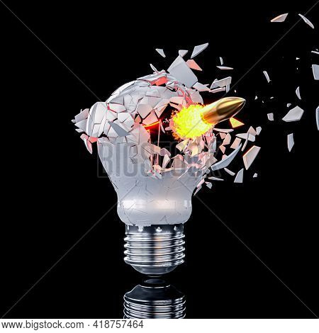 shattering light bulb hit by a bullet. 3d render.