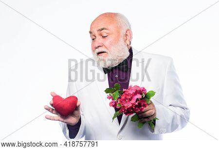 Dating Services For Elderly People. Gentleman Concept. True Gentleman. Well Groomed Handsome Bearded
