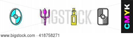Set Greek Shield, Neptune Trident, Bottle Of Olive Oil And Icon. Vector