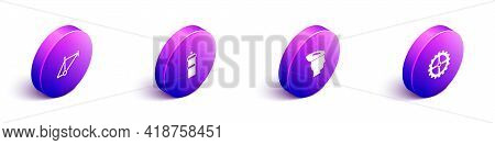 Set Isometric Bicycle Frame, Sport Bottle With Water, Helmet And Sprocket Crank Icon. Vector