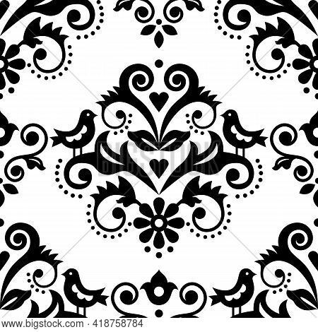Damask Tiled Textile Or Fabric Print Vector Pattern With Flowers, Birds And Swirls, Elegant Repetiti