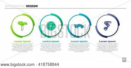 Set Bicycle Seat, Sprocket Crank, Shoes And Derailleur Bicycle Rear. Business Infographic Template.