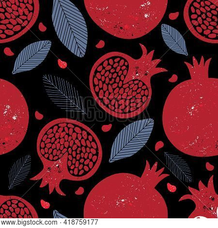 Seamless Pattern With Red Pomegranate Fruits And Seeds. Modern Abstract Background With Tropical Fru