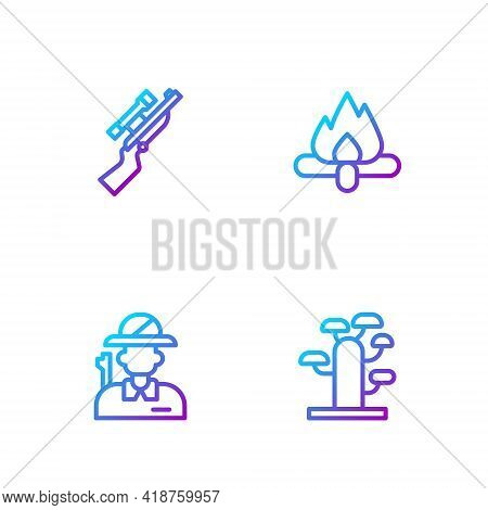 Set Line African Tree, Hunter, Sniper Rifle With Scope And Campfire. Gradient Color Icons. Vector