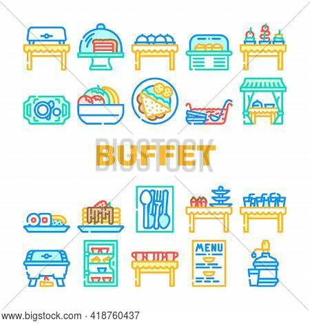 Buffet Food And Drinks Collection Icons Set Vector. Buffet Showcase With Cakes Dessert And Delicious