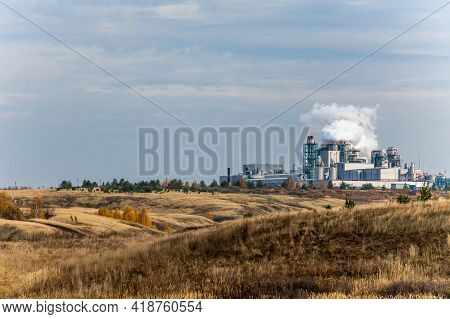 Chemical Plant Factory With Smoke Stack. Smoke Emission. Petrochemical Industry With Distillation Co