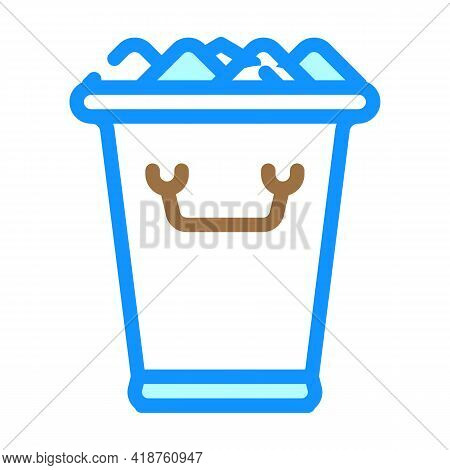 Ice Bucket Bartender Color Icon Vector. Ice Bucket Bartender Sign. Isolated Symbol Illustration