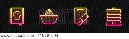 Set Line Cutting Board And Meat Chopper, Cookbook, Citrus Fruit Juicer And Slow Cooker. Glowing Neon