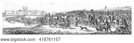 King Charles II of England and Queen Catherine of Braganza arrive in a carriage accompanied by a long procession of horses and carriages at Hampton Court Palace.