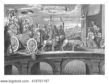 The carriage, pulled by four lions, passes over the personification of vices while Hercules watches. In and around the triumphal chariot