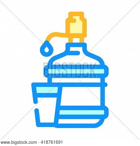 Water Bottle With Pump Color Icon Vector. Water Bottle With Pump Sign. Isolated Symbol Illustration