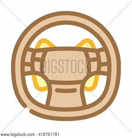 Steering Wheel Car Color Icon Vector. Steering Wheel Car Sign. Isolated Symbol Illustration