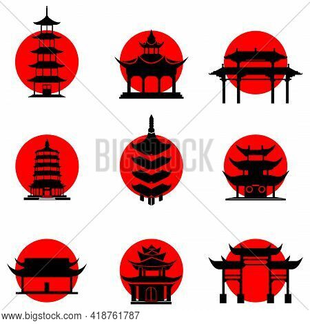 A Set Of Japanese-style Icons On The Background Of The Sun. Buddhist Temples Pagodas. Vector Illustr