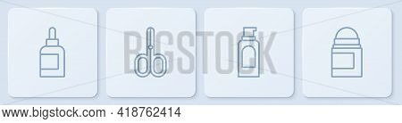 Set Line Cream Or Lotion Cosmetic Tube, Spray Can For Hairspray, Scissors And Antiperspirant Deodora