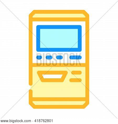 Terminal For Buying Ticket Color Icon Vector. Terminal For Buying Ticket Sign. Isolated Symbol Illus