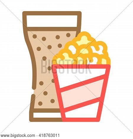 Popcorn Snack And Drink Glass Color Icon Vector. Popcorn Snack And Drink Glass Sign. Isolated Symbol