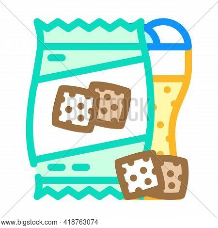 Rusks Snack For Beer Color Icon Vector. Rusks Snack For Beer Sign. Isolated Symbol Illustration