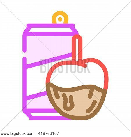 Caramel Fruits Snack And Drink Color Icon Vector. Caramel Fruits Snack And Drink Sign. Isolated Symb