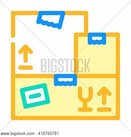 Carton Boxes Wholesale Color Icon Vector. Carton Boxes Wholesale Sign. Isolated Symbol Illustration