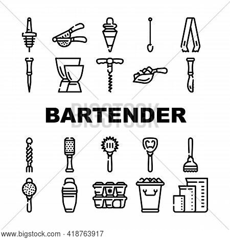 Bartender Accessory Collection Icons Set Vector. Bar Spoon And Grater, Juicer And Ice Breaker, Cockt