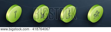 Set Isometric Line Magic Wand, Pentagram On Necklace, Sword In The Stone And Icon. Vector