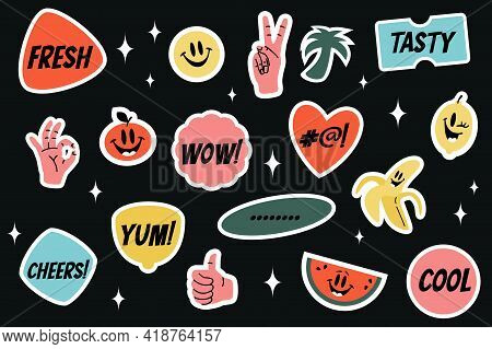 Yummy Sticker Set With Comic Characters Such As Banana, Lemon, Watermelon, Tomato, Smiling Face. Vec