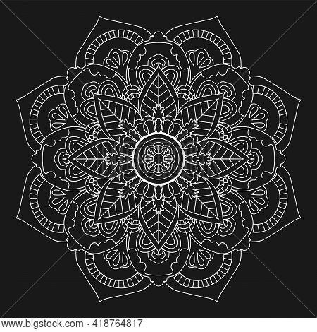 White Mandala. Ethnic Decorative Elements. Hand Drawn Background. Islam, Arabic, Indian, Ottoman Mot