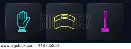 Set Line Golf Glove, Club And Sun Visor Cap. Black Square Button. Vector