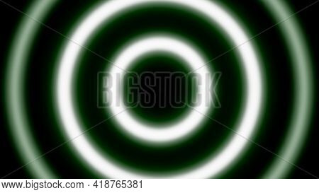 Hypnotic Neon Rings Move In Waves. Animation. Pulsating Bright Rings Radiating Neon Light On Black B