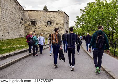 Budapest, Hungary - May 2019: Tourists Walking From Observation Deck Of Gellert Hill. Historic Landm