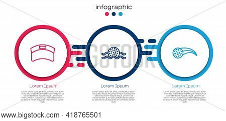 Set Line Sun Visor Cap, Golf Ball In Water And . Business Infographic Template. Vector