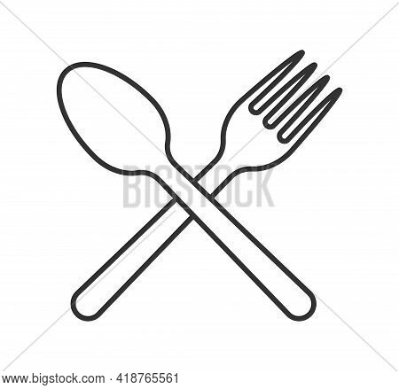 Fork And Spoon Crossed Icon Logo. Flat Shape Restaurant Or Cafe Place Sign. Utensil Across. Kitchen