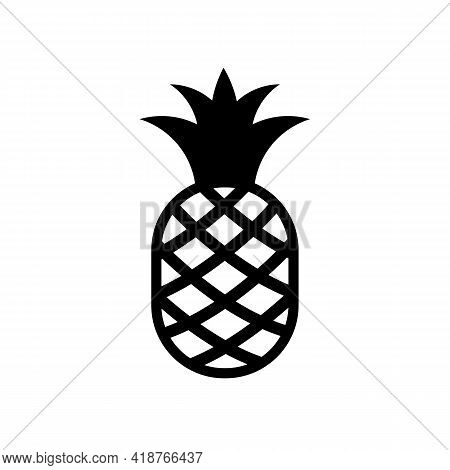Pineapple Black Icon. Vector Isolated On White.