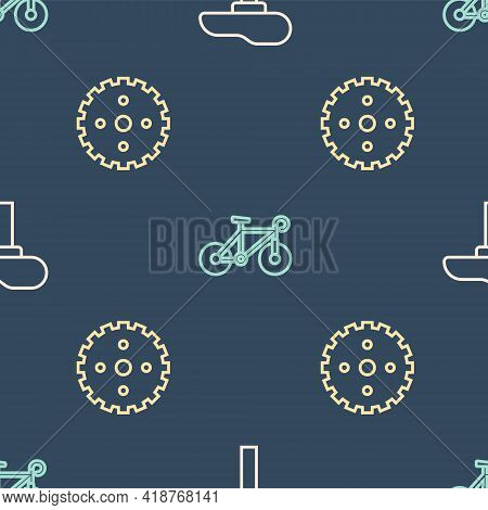 Set Line Bicycle Seat, Sprocket Crank And On Seamless Pattern. Vector