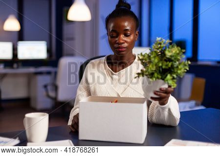 Depressed African Woman After Being Dismissed From Work