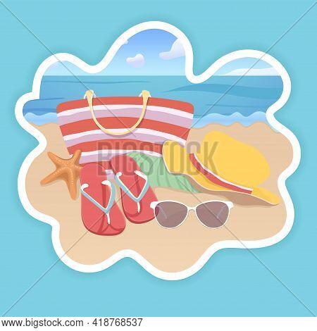 Beach Accessories, Flat Illustration, Summer Vacation Sticker Design. Beach Bag, Brimmed Hat, Flip F