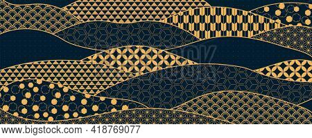 Traditional Asian Patterns Abstract Background, Gold On Blue. Oriental, Eastern Style Vector Illustr