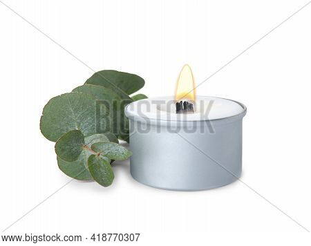 Aromatic Candle With Wooden Wick And Eucalyptus Branch On White Background