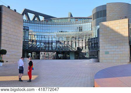 Dusseldorf, Germany - September 19, 2020: People Visit Landtag Of North Rhine Westphalia (nordrhein-