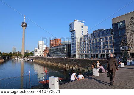 Dusseldorf, Germany - September 19, 2020: People Visit Hafen District In Dusseldorf, Germany. The Fo