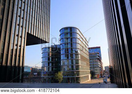 Dusseldorf, Germany - September 19, 2020: Modern Architecture Of Hafen District In Dusseldorf, Germa