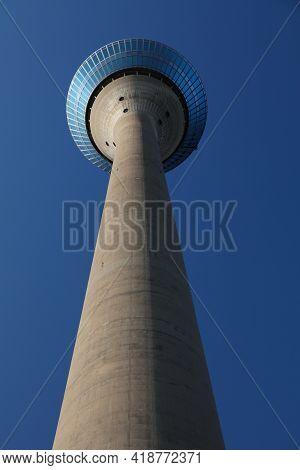 Dusseldorf, Germany - September 19, 2020: Rheinturm Tv Tower In Dusseldorf, Germany. Dusseldorf Is T