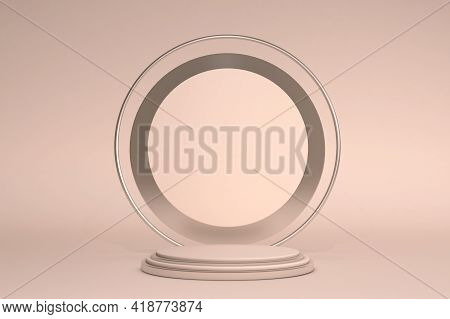 Beige Podium Display In Abstract Geometric Composition, 3d Render, 3d Illustration, Background Mocku