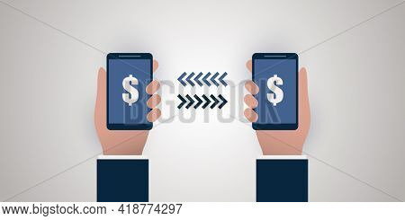 Modern Digital Money Transfer Concept Design With Parties Holding A Smart Phone, Sending And Receivi